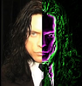 A nightmarish image of Tommy Wiseau as a half-digital being